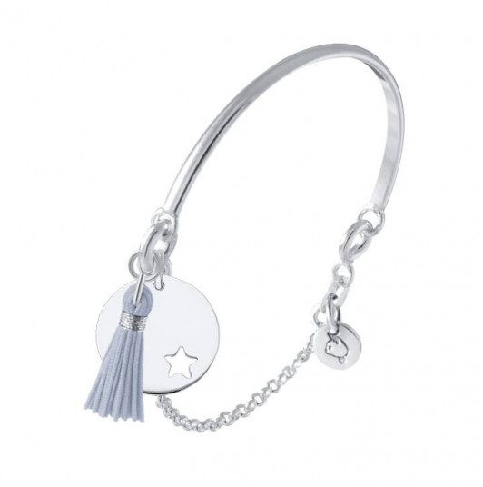 Half bangle and chain bracelet with small perforated star medal and pompom