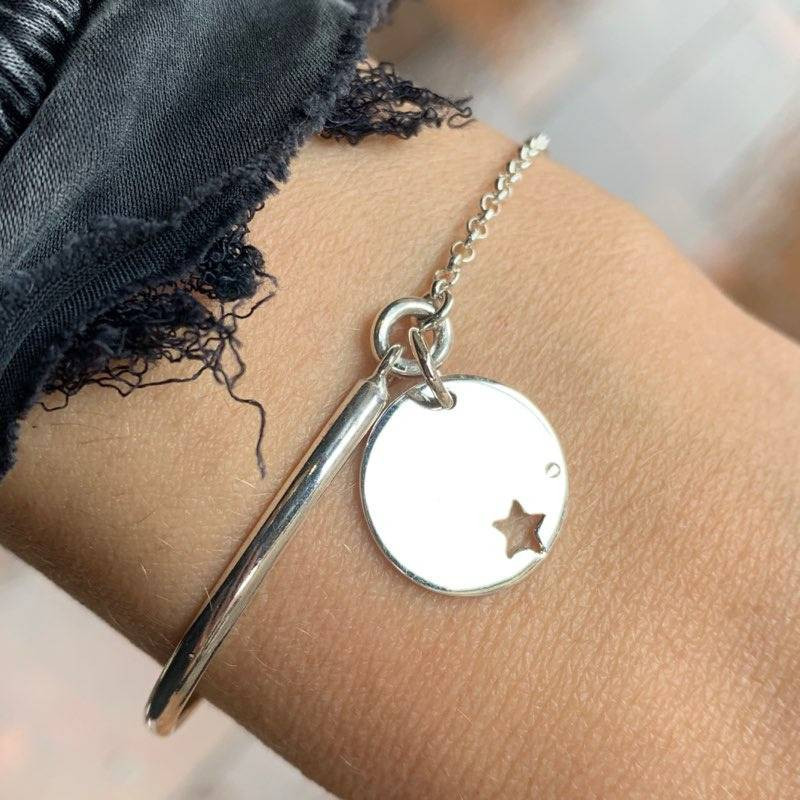 925 silver half bangle and chain bracelet with small perforated star medal