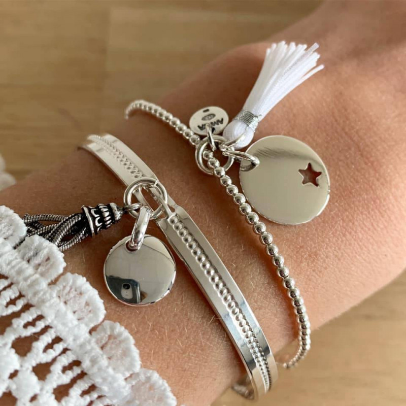 925 silver beads bracelet with pompom and perforated star medal
