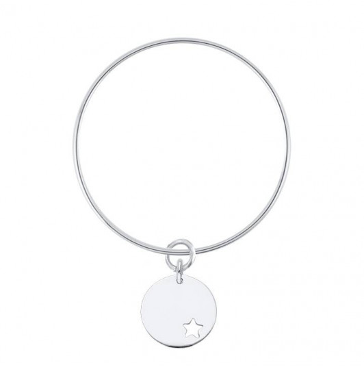 925 silver thin bangle bracelet with perforated star medal