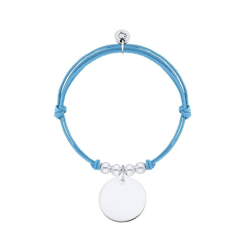 Tie bracelet with large size customizable medal and beads