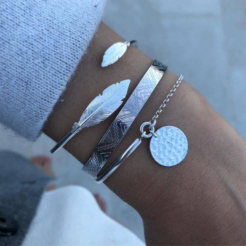 925 Silver ethnic feather trio