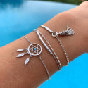 925 Silver dreamcatcher bracelet set
