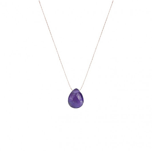 Flat amethyst drop necklace