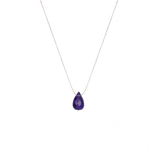 Round amethyst drop necklace