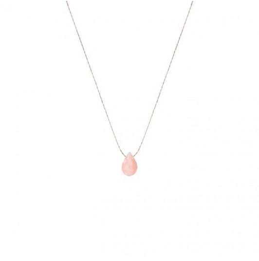 Pink opal drop necklace
