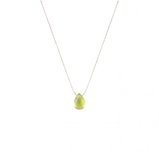 Peridot stone drop necklace