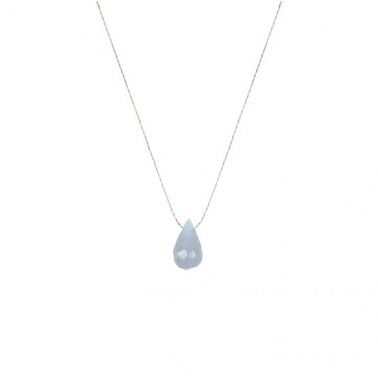 Round grey moon stone drop necklace