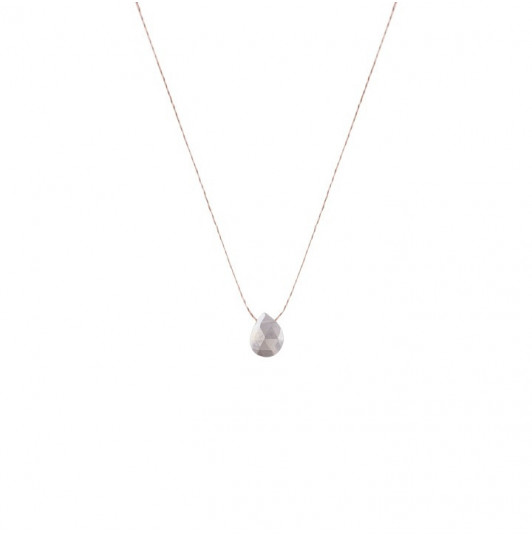 Grey moon stone drop necklace