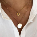 Gold-plated grey moonstone necklace duo