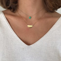 Hammered half circle and chrysoprase necklaces duo