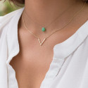 V and chrysoprase necklace duo