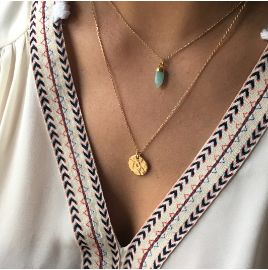 Hammered amazonite necklace duo