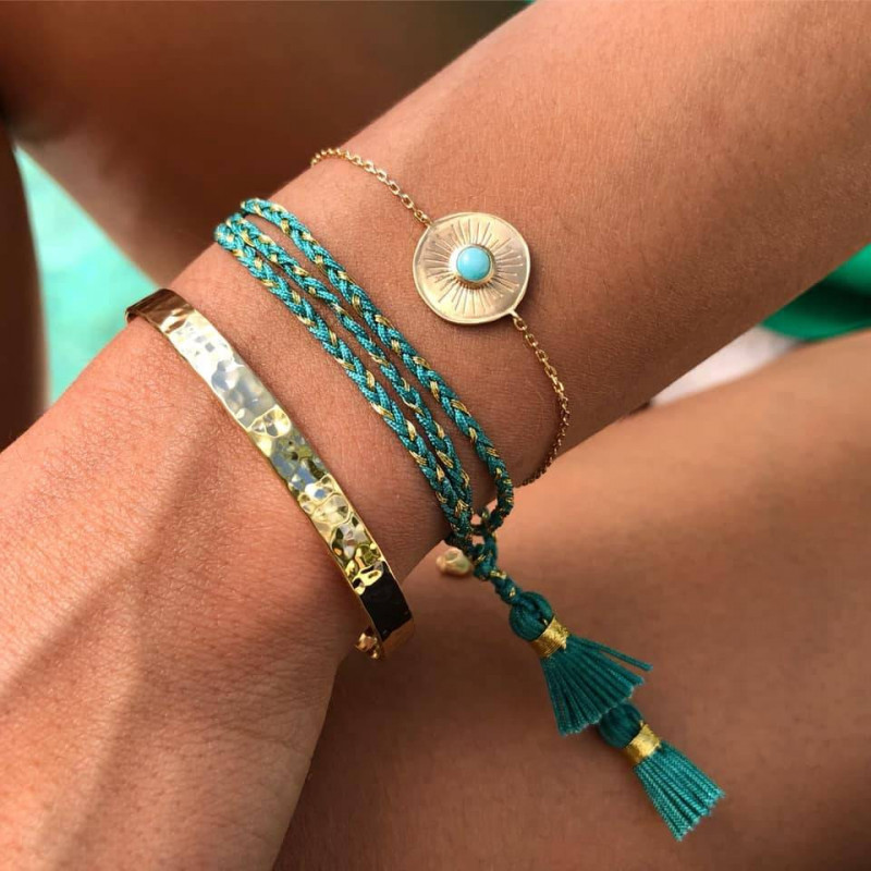 Gold-plated amazonite trio