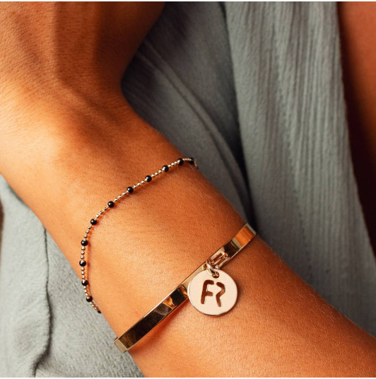 Gold-plated beads & initials bracelet set