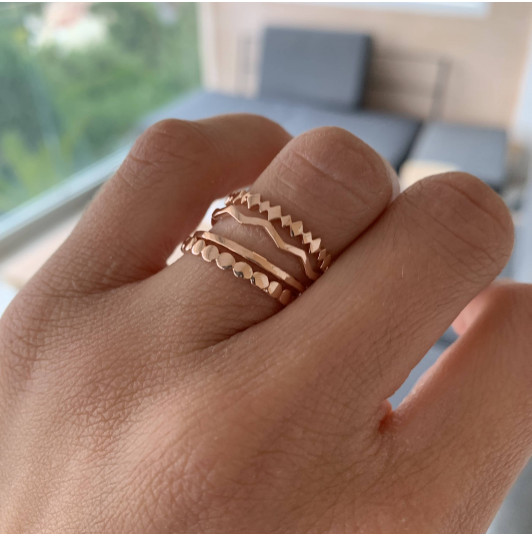Rose gold-plated feston ring set