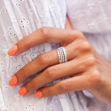 925 Silver striated ring set