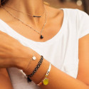 Rose gold-plated beaded chain necklace & drop gemstone