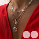 Rose gold-plated beaded chain necklace with large curved medal