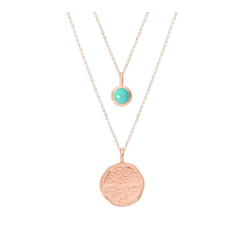 Rose gold-plated amazonite Naïa chain necklace