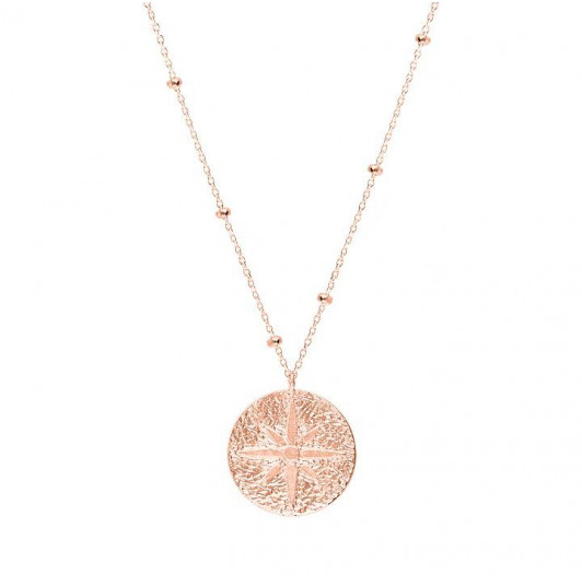 Rose gold-plated wind rose beaded chain necklace