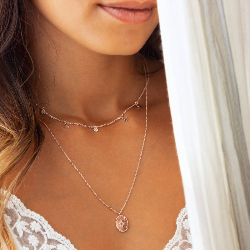 Rose gold-plated chain necklace with 5 small hammered medals