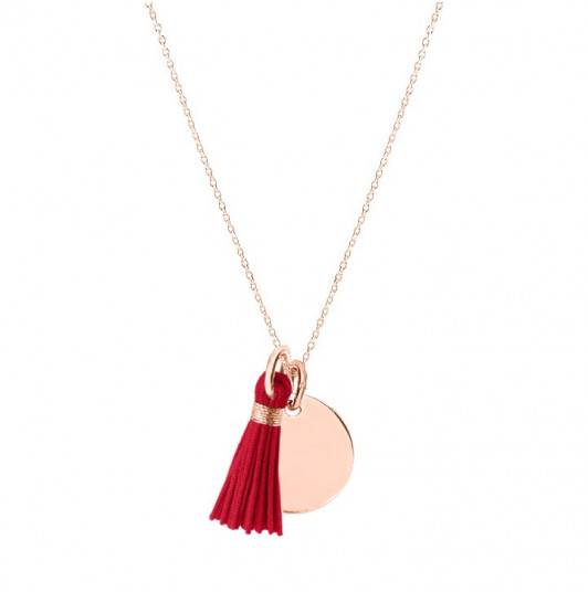 Rose gold-plated chain necklace with pompom and medal