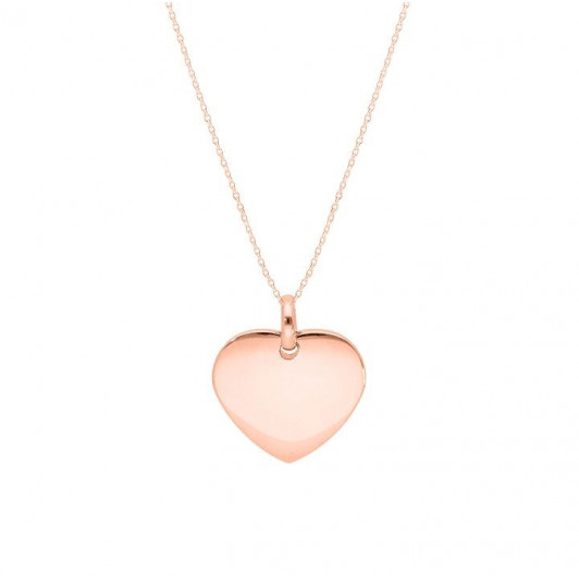 Chain necklace with curved heart medal