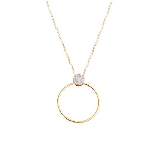Chain necklace zircon circle and ring