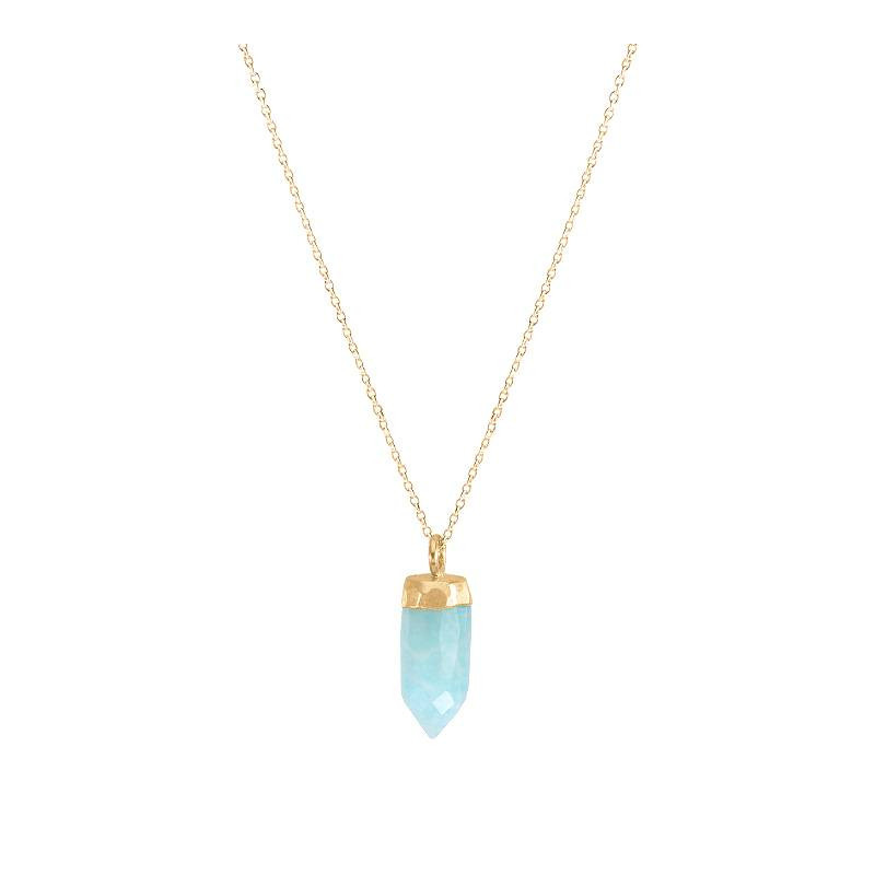Gold-plated necklace with Amazonite prism charm - L'Atelier d'Amaya