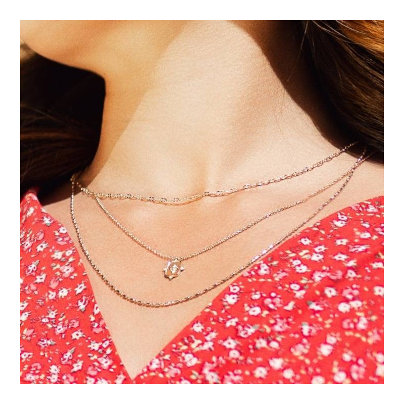 Two rows of fancy gold-plated chains necklace