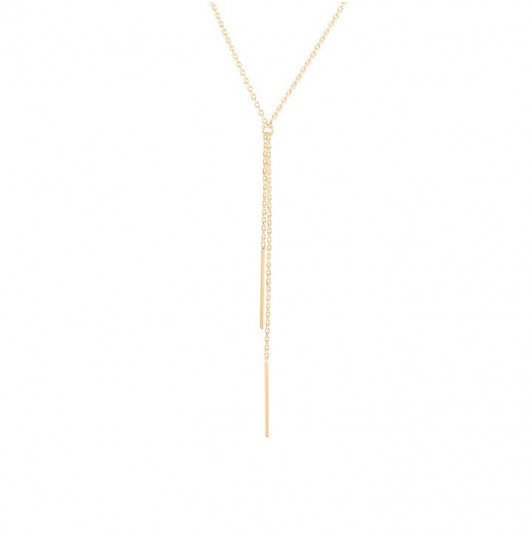 Double hanging chain long rods necklace