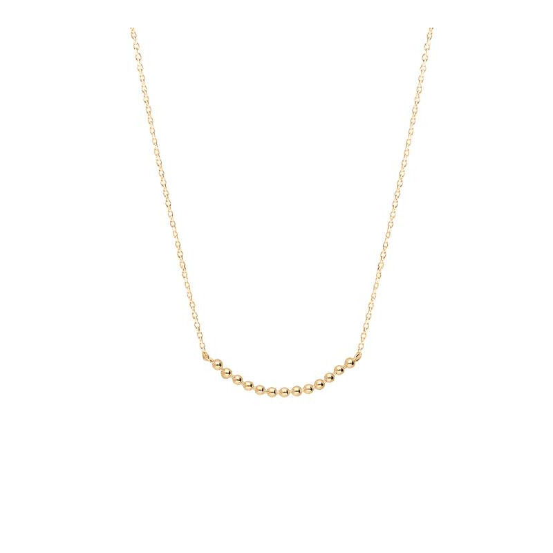 Gold-plated chain necklace with beads row