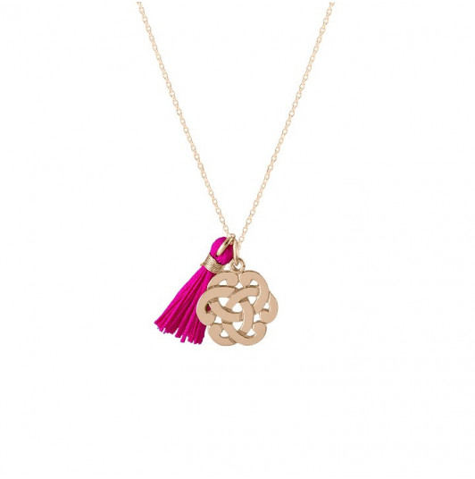 Arabesque and pompom chain necklace