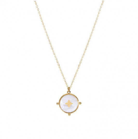 Nacre & cross chain necklace