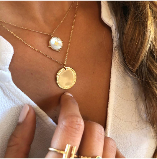 Nacre & cross gold-plated chain necklace