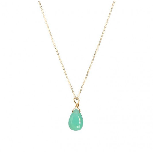 Chain necklace with chrysoprase drop