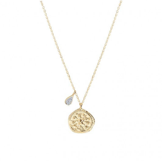 Chain necklace with medal & zircons