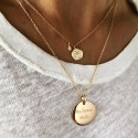 Star medal & zircons chain necklace