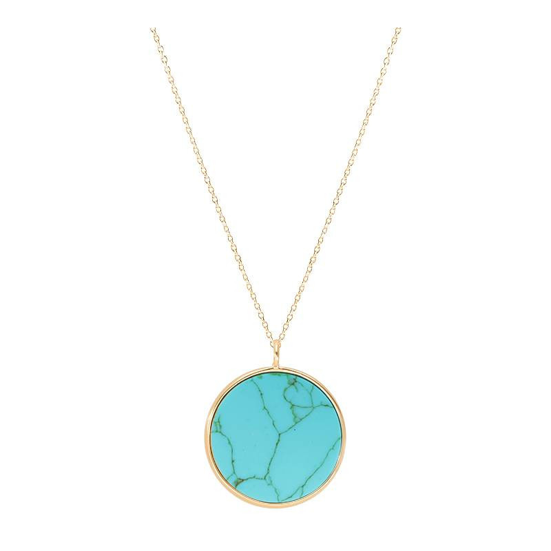 Gold-plated turquoise medal necklace