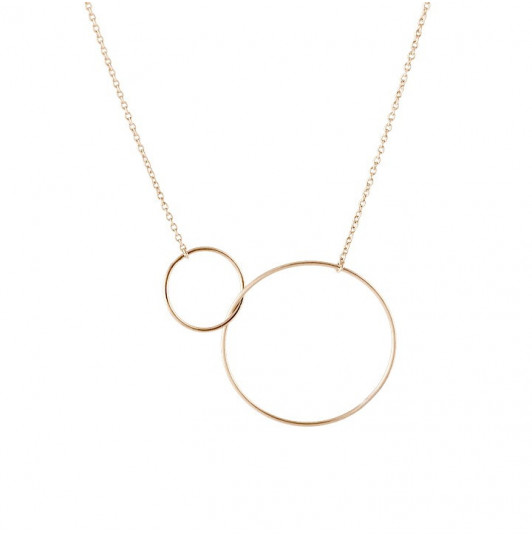 Gold-plated chain necklace with two rings large model