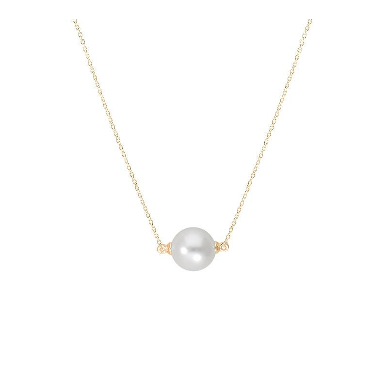 Gold-plated pearl chain necklace