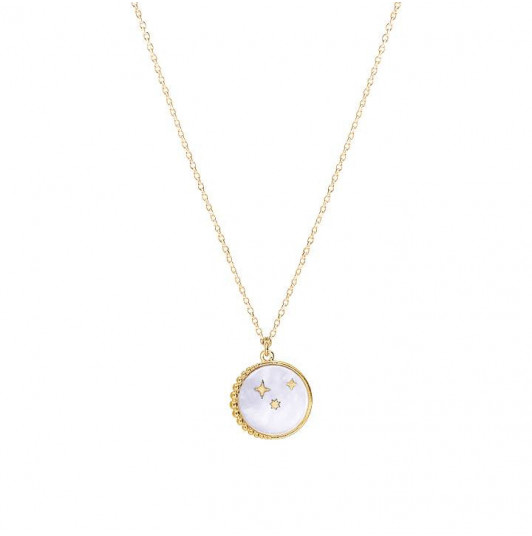 Nacre & stars chain necklace