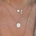 Gold-plated cross and medal chain necklace