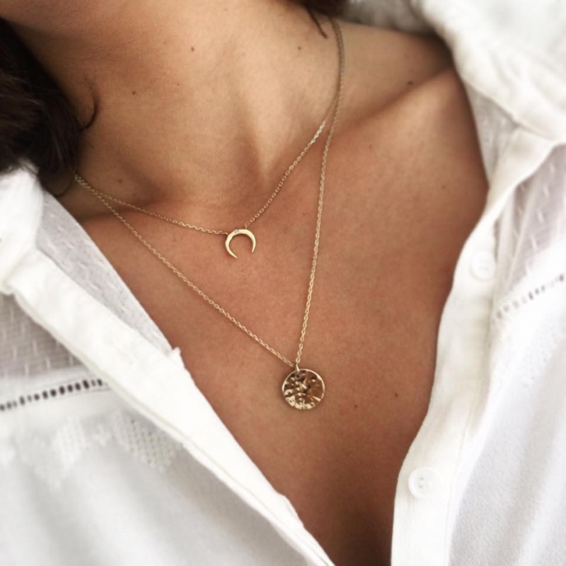 Thin horn chain necklace