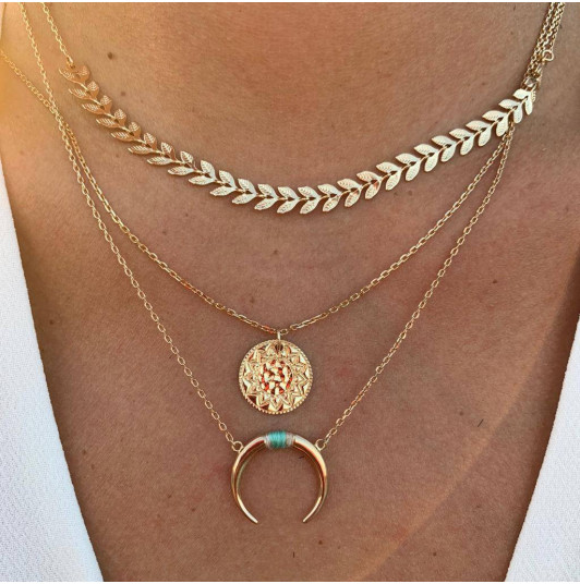 Chain necklace with horn