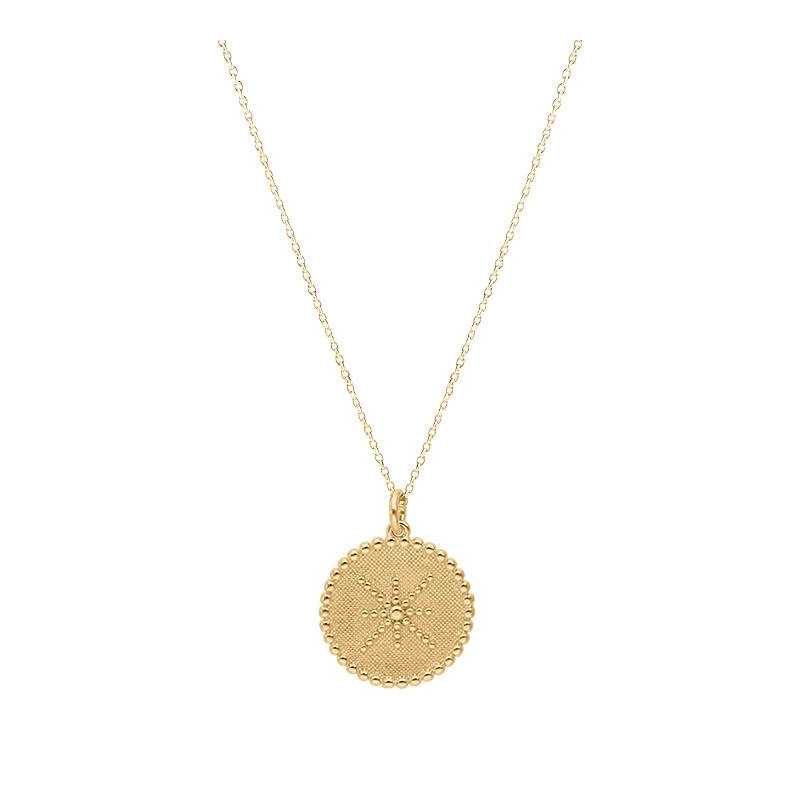 Gold-plated Lace & dotted line medal chain necklace