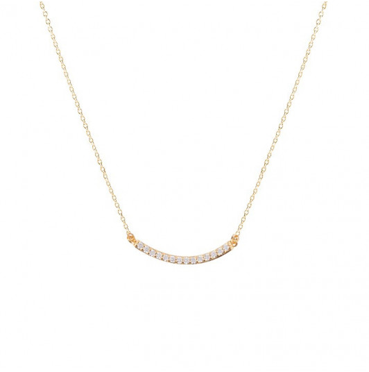 Curved zircon row chain necklace