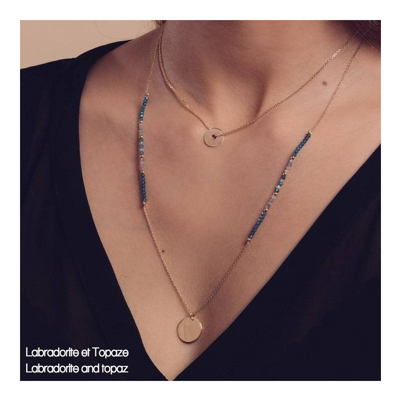 Long necklace with labradorite, topaz and medal