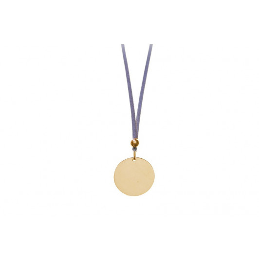 Suede necklace with medal